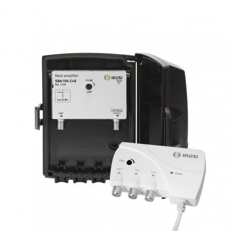 JSBA-100C48 / Kit Amplificador mástil UHF 40dB + F.A. LTE2 (5G)