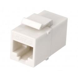 CON-927 / Conector modular doble hembra RJ45 UTP Cat6 blanco