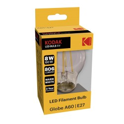 A60/E27-FIL-8 / Bombilla led filamento E27 806lm 8W 3000k cálido