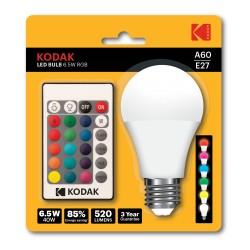 A60/E27-RGB / Bombilla led RGB E27 520lm 6,5W (40W) con mando
