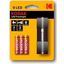 LINTERNA-9N / Linterna 9 leds compacta + 3 pilas AAA negra Kodak