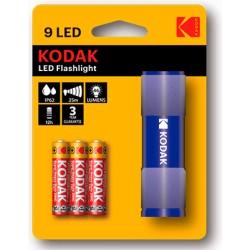 LINTERNA-9A/ Linterna 9 leds compacta + 3 pilas AAA azul Kodak