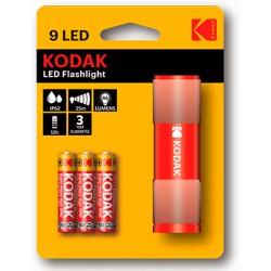 LINTERNA-9R / Linterna 9 leds compacta + 3 pilas AAA roja Kodak