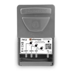 7412 / Amplificador de Mástil VHF+2xUHF 32dB LTE2 RED (5G) Johansson