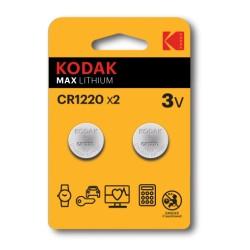 CR1220 / Pila de litio tipo botón CR1220 (3V) (Blister 2 unidades) Kodak