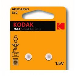 Pila AG12-LR43 / Pila alcalina tipo botón AG12-LR43 (1,5V) (2 unidades) Kodak