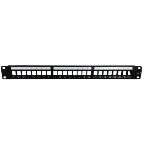 """PM24 / Panel de conexión 19"""" 24 puertos Multimedia con guía de cables"""