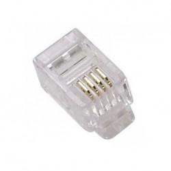CON041 / Conector RJ11 macho para cable telefónico Cat. 3