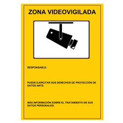 CARTEL-ES / Placa homologada para CCTV plástico Interior / Exterior