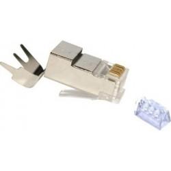 FE-HQ62P-50PG / Conector RJ45 macho blindado para cable FTP Cat. 6 con brida