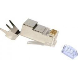 FE-HQ62P-50PG / Conector RJ45 macho blindado para cable FTP Cat. 6 con brida
