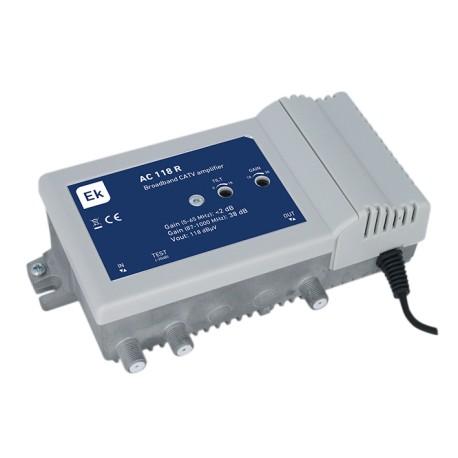 AC118R / Amplificador de línea CATV 1 entrada 38dB con retorno pasivo